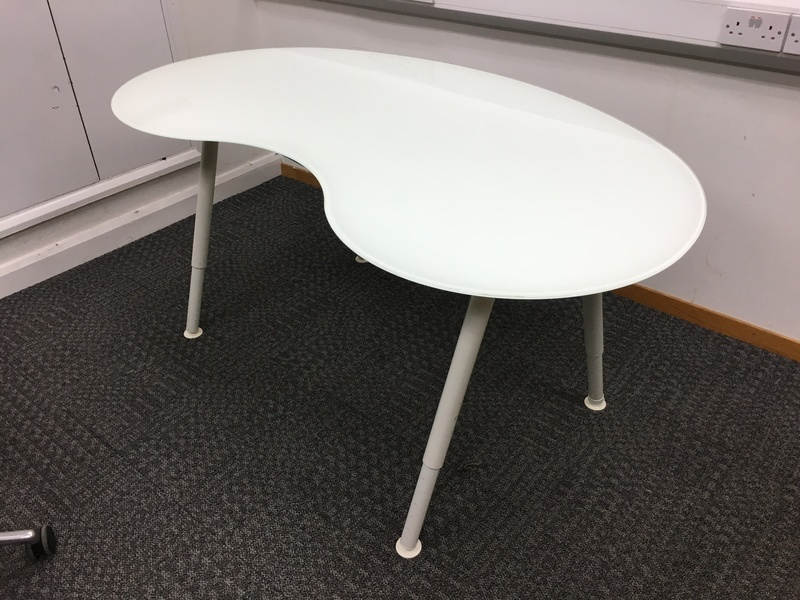Ikea White Glass Kidney Shape Desk