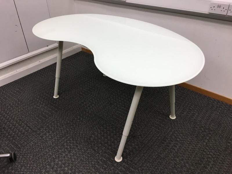 Ikea white glass kidney shape desk