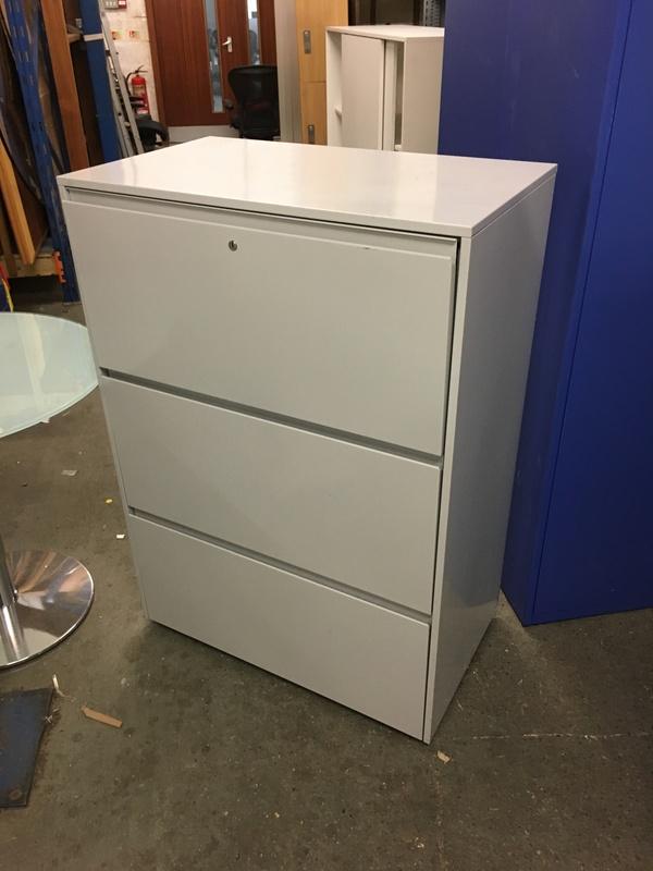 Grey metal 3 drawer side filer