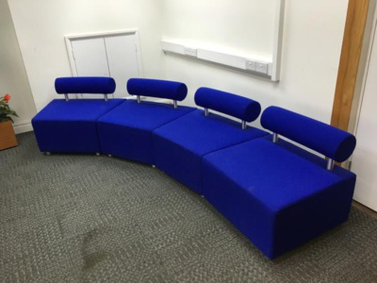 Blue modular reception seating