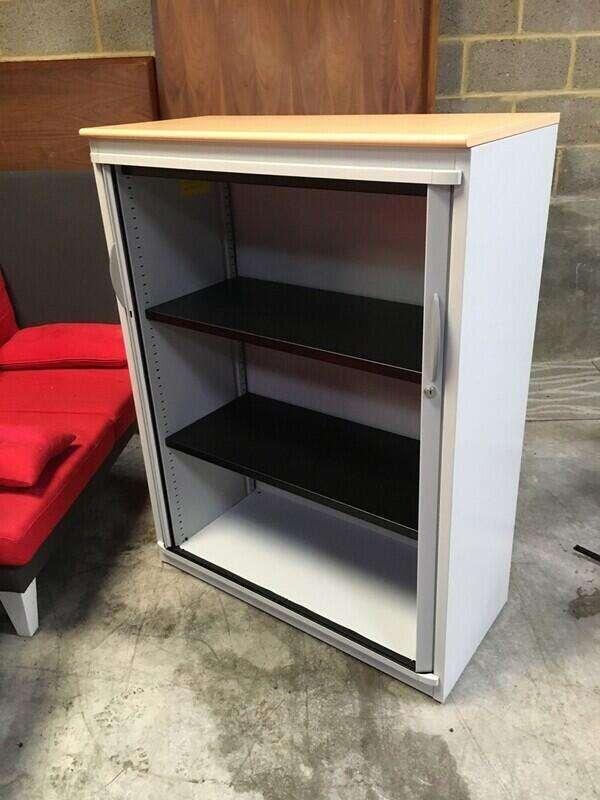 1320mm high Steelcase grey/beech tambour cupboard