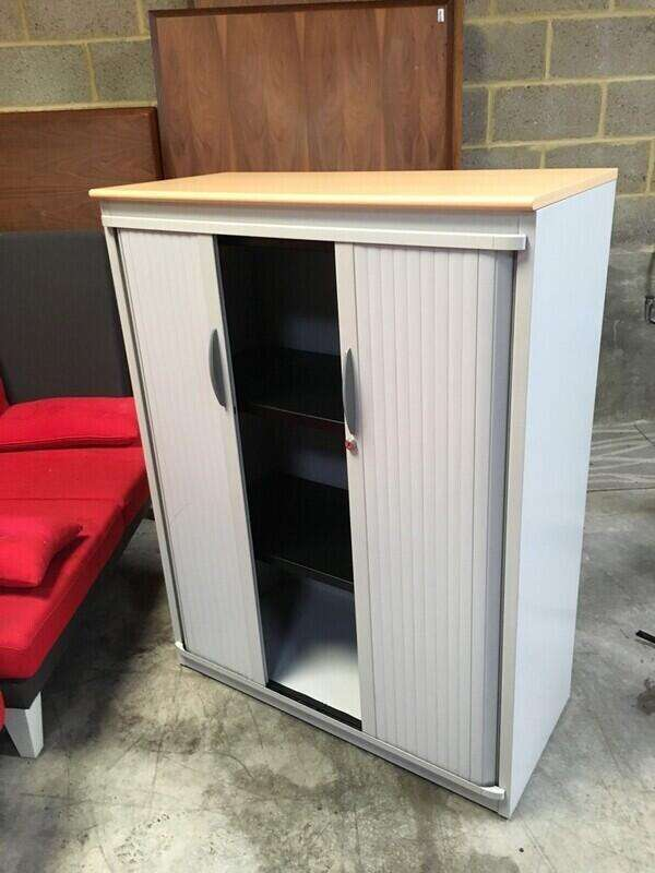 1320mm high Steelcase grey/beech tambour cupboard