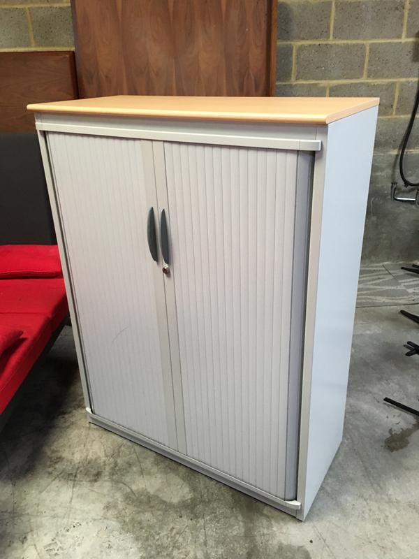 1320mm high Steelcase greybeech tambour cupboard