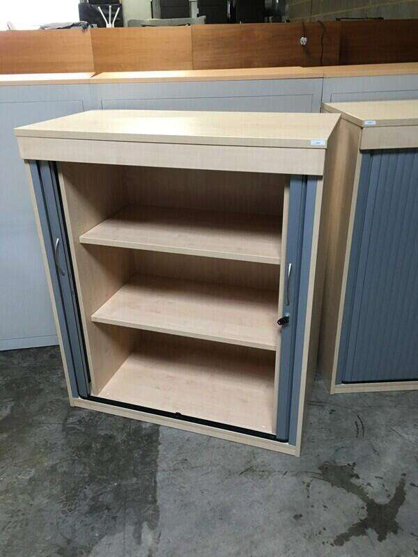 1200mm high maple/silver tambour cupboard