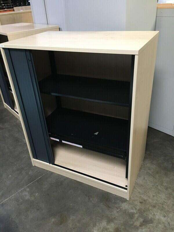 1200mm high maple/graphite tambour cupboard