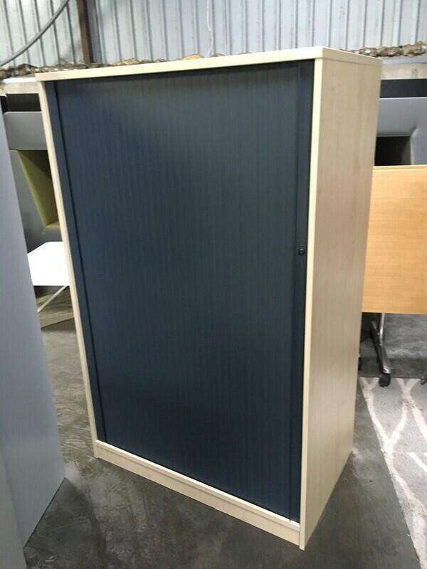 1200mm high maple/graphite tambour cupboard