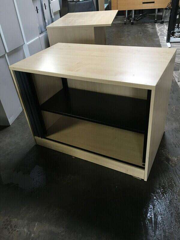Desk high maple/graphite tambour cupboard
