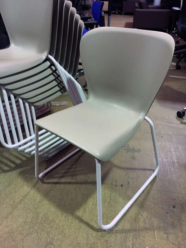 Steelcase Westside beige plastic stacking chairs