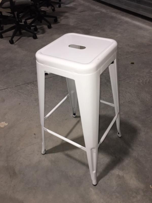 White metal 4 leg bar stools
