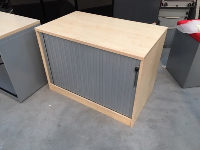 Desk high maplesilver side tambour cupboard