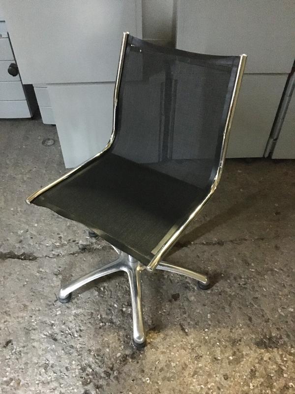 Vitra style black mesh meeting chairs