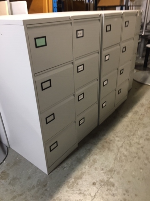 Grey metal 4 drawer filing cabinets