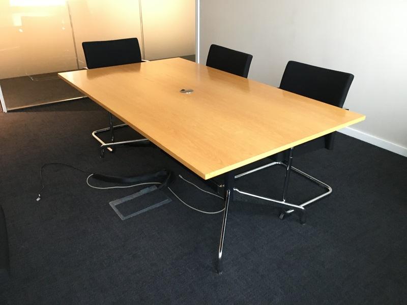 Vitra Segmented oak veneer tables 1800 to 2130mm long