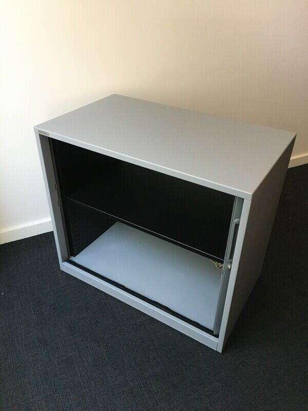 Desk High Triumph silver tambour cupboard 710h