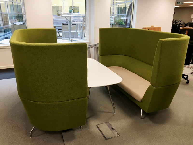 Green/grey Orangebox Cwtch acoustic 3 seater sofas