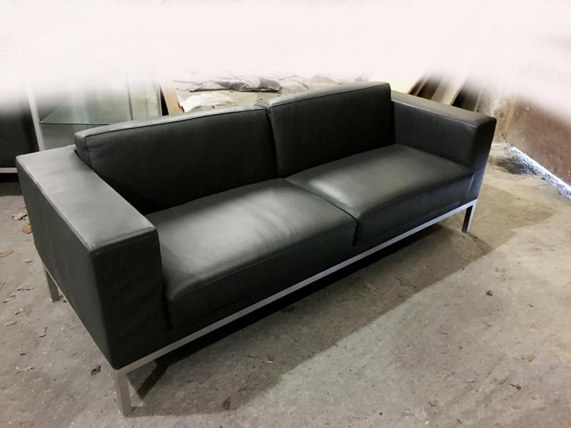 Graphite leather Hitch Mylius hm25 2 seater sofa