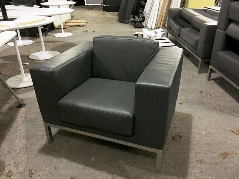 Graphite leather Hitch Mylius hm25 2 seater sofa