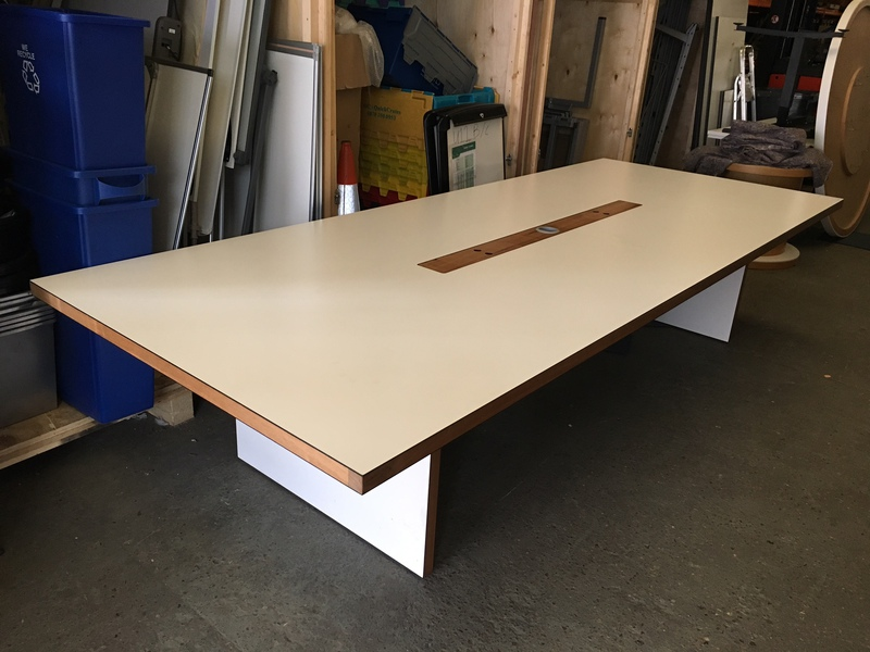 3500 x 1400mm white boardroom table with walnut inserts