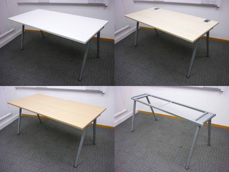 1600 amp 1200mm silver 4 leg desk frame and choice of top