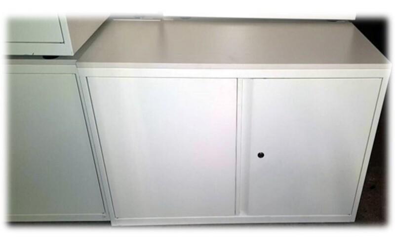 Low white metal cupboard