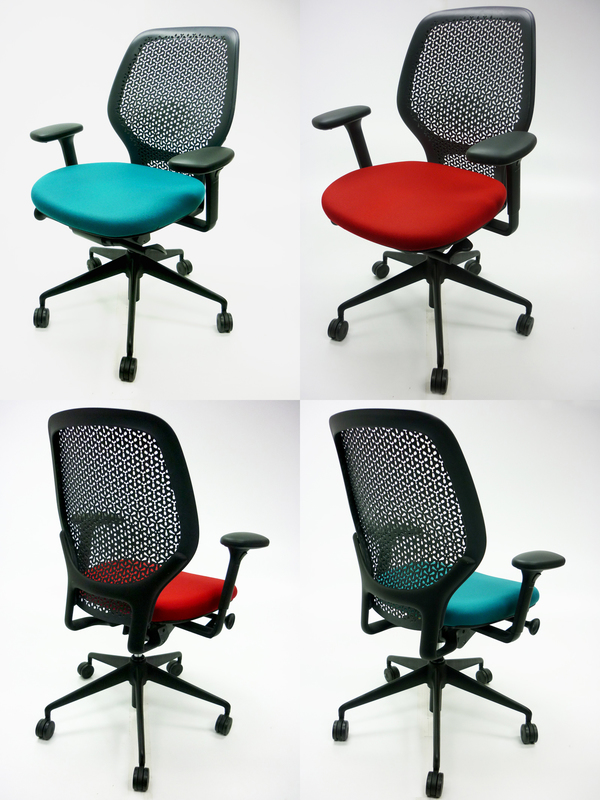Orangebox ARA task chair with arms in blue red or green