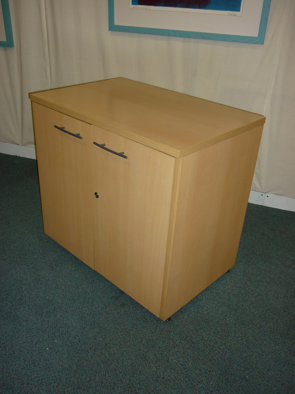 Sven beech desk high cupboard