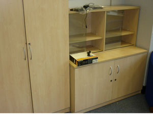 1320mm high Eurotek desk high maple cupboard with top bookcase