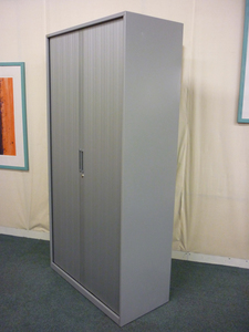 1850mm high metallic silver Triumph tambour cupboard