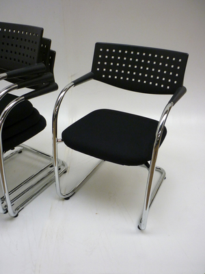 Vitra Visavis black cantilever stacking meeting chairs (CE)