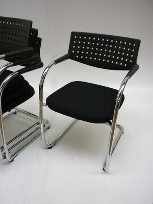 Vitra Visavis black cantilever stacking meeting chairs