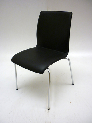 NEW Black leather 4 leg stacking meeting chairs CE