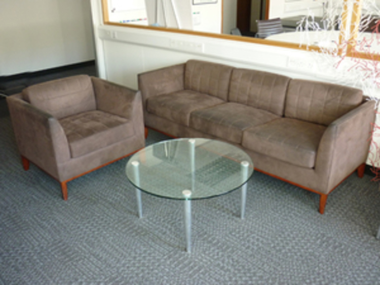 Bernhardt Design brown suede 3 seater sofas and armchairs