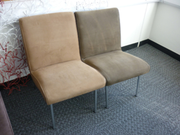 5x Lounge Chair : Brown suede single seater chairs ce recycled business