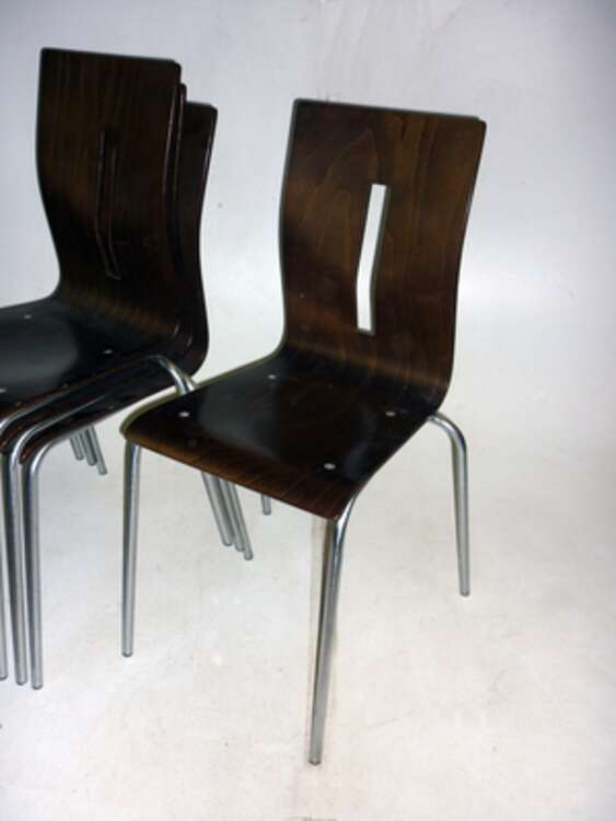 Allermuir Scoop dark walnut stacking chairs