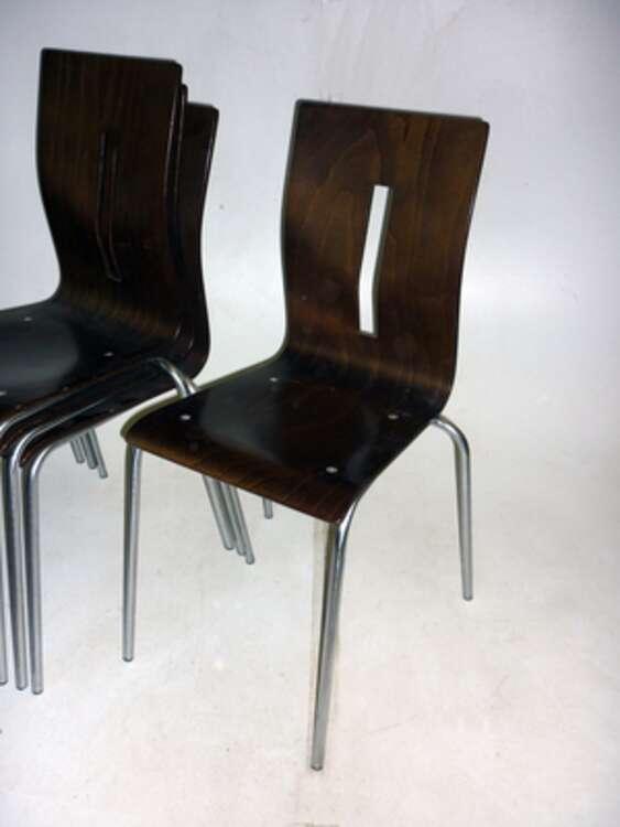 Allermuir Scoop dark walnut stacking chairs