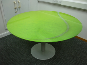 Glass top tennis ball design table