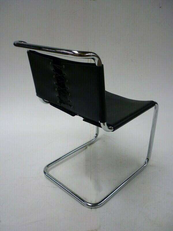 Knoll Spoleto black leather chairs