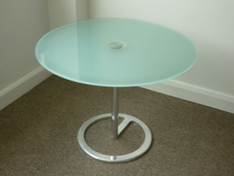 800 mm diameter Aqua glass top coffee table (CE)