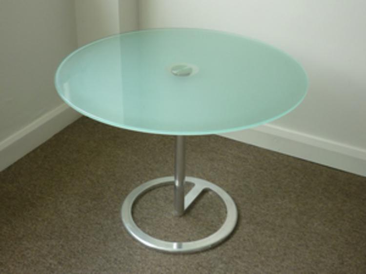 800 mm diameter Aqua glass top coffee table CE