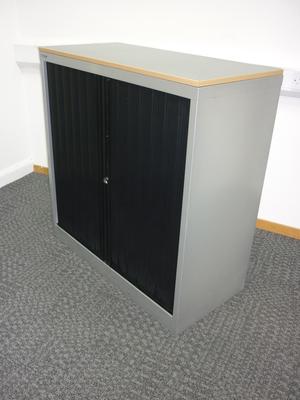 1040mm high black/silver Bisley side tambour cupboard