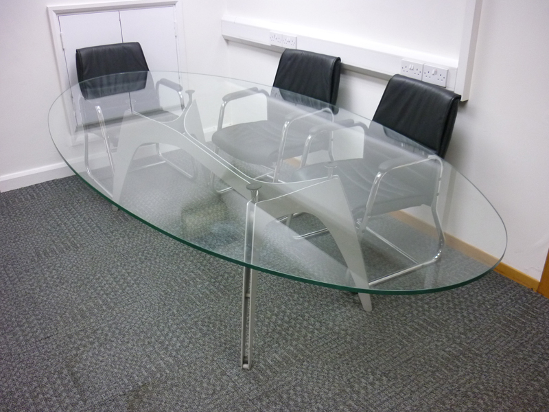 2800x1400mm glass oval boardroom table