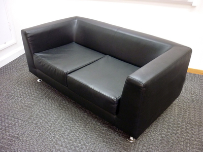 2 seater black leather sofa (CE)