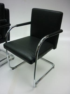 Vitra Visasoft black leather cantilever chair  (CE)