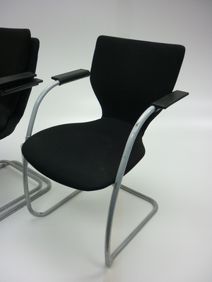 Black Orangebox X10 stacking cantilever chairs (CE)