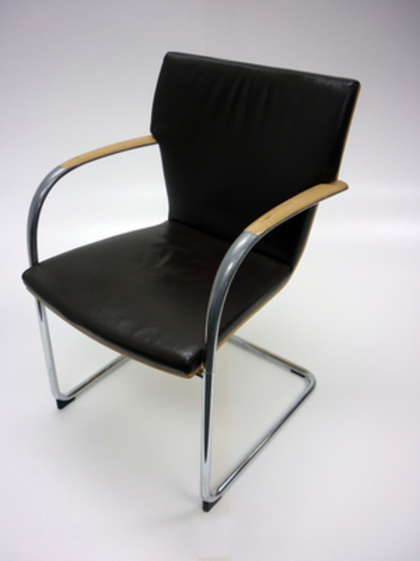 Brown leather meeting chair