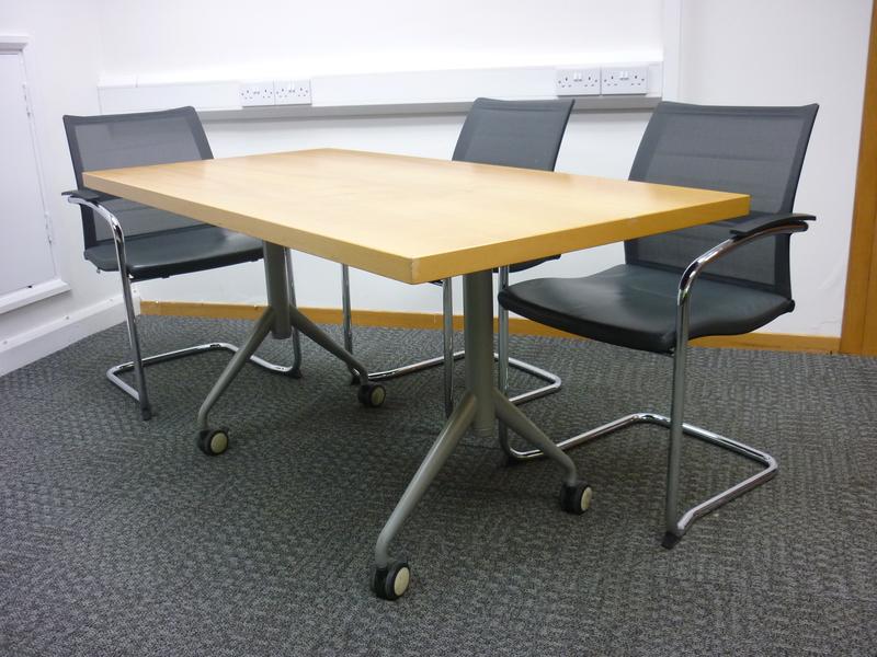 1500 x 1750mm Sedus beech veneer top tilt tables (CE)