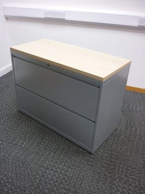 Bisley 2 drawer silver/maple metal side filers