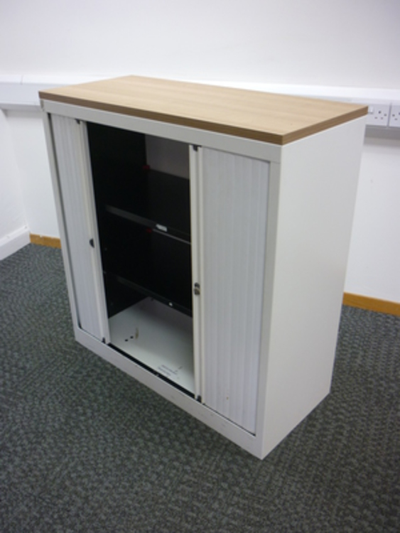 1060mm high Bisley white/havana tambour cupboard