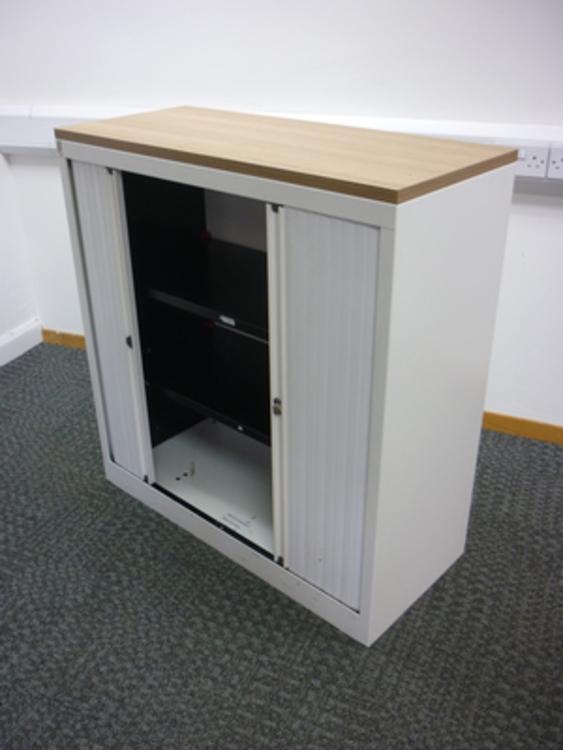 1060mm high Bisley whitehavana tambour cupboard