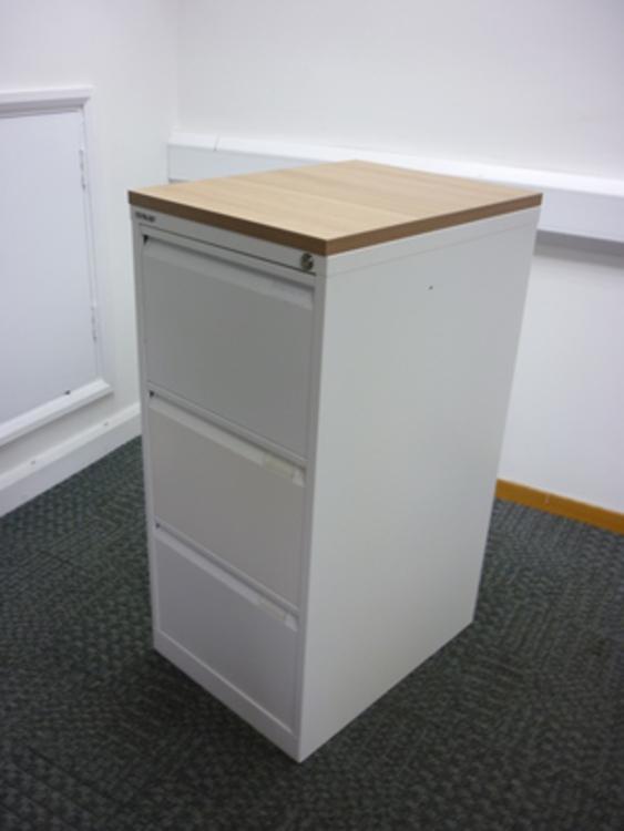 Bisley white/havana wood 3 drawer filing cabinet